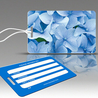 TagCrazy Luggage Tags, Hydrangeas Flower Design, Durable Plastic Loops-3 Pack