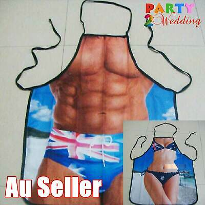 Sexy Muscle Men Women Aussie Flag BBQ Apron Party Novelty Funny Costume