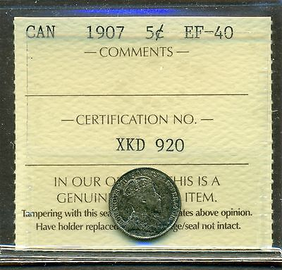 1907 Canada Silver 5 cent ICCS EF 40