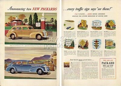 1939 Packard yellow SIX~blue 120~EIGHT Car 1938 Ad : Vintage Advertising MMXV