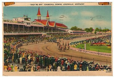 They're Off at Churchill Downs 1944 Louisville Post Card Louisville KY Kyle Co.!