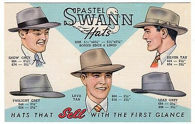 Swann-Abram Hat Co. Louisville KY Post Card Pastel Colors BEAUTIFUL!@@!