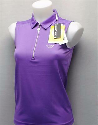 New Ladies Daily Sports Scratch Players zip polyester golf polo shirt XS purple