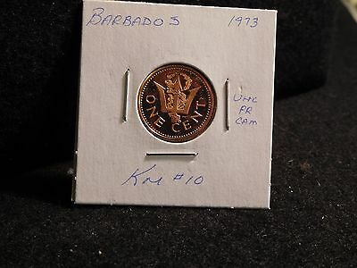 Barbados:   1973   One Cent  Coin  Proof Hc  (Unc.)    (#3837)  Km # 10