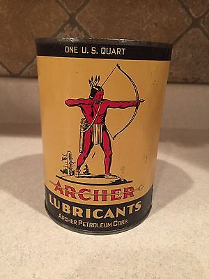 Empty Vintage Archer Indian Aircraft Airplane Motor Oil Lubricants 1 Quart Tin