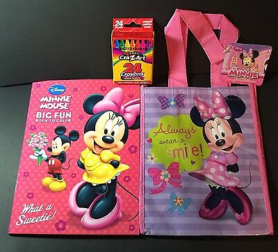 MINNIE MOUSE Coloring Book & Crayons Gift Set in Reusable Tote - Great Gift!