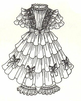 """Period French German Victorian Dress PATTERN for a 17"""" to 18"""" Doll 257"""