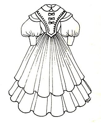 """Period French German Victorian Dress PATTERN for a 19"""" to 20"""" Doll 272"""