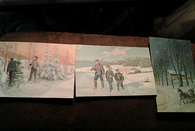 3 Norway post cards Christmas