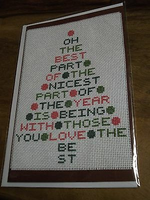 "Completed Cross Stitch Greeting Card "" Christmas Tree """