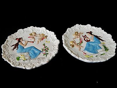 PAIR Greek Mythology Goddess Of Music Round Plates Hand Painted