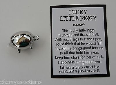 g LUCKY LITTLE PIGGY Pig POCKET TOKEN CHARM good luck ganz figurine persevere