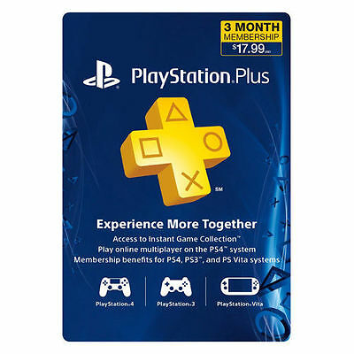 Playstation Plus 3 Month Membership Subscription Code - PS3/PS4/Vita - EMAIL