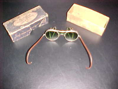 Vintage Bausch & Lomb B&L 22 - 46 Steampunk Style Green Safety Glasses