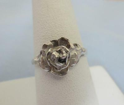 925 Sterling Silver Rose Ring, Size 8