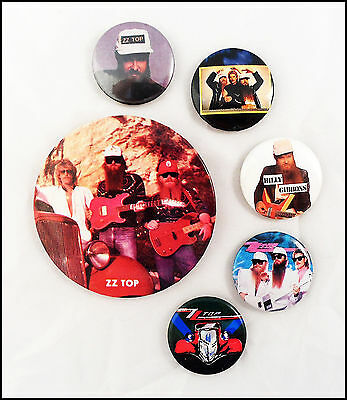ZZ Top Lot Of 6 80's Buttons Pins Eliminator Billy Gibbons Dusty Hill