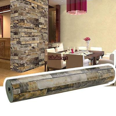 10M Roll 3D Stacked Brick/Stone Wall Sticker Blue > Beige Vinyl Wallpaper