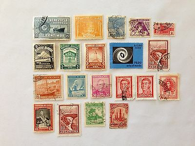 Vintage Assorted South America Postage Stamps Lot of 20