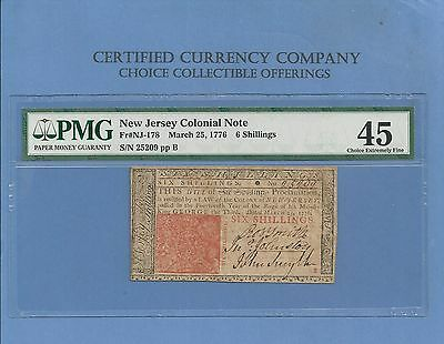 1776 Six Shillings New Jersey Early Colonial Note  N J-178 PMG XF-45