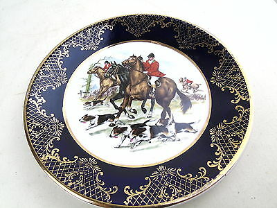 Vintage Weatherby Hanley Falcon Ware Fox Hunting Scene Retro Gold Gilt Plate