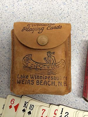 Lake Winnipesaukee Weirs Beach NH Miniature Playing Cards Souvenir Leather Case