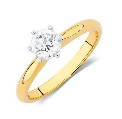 18K Yellow Gold 0.70ct G/I1 Solitaire Brilliant Diamond Engagement Ring #233711