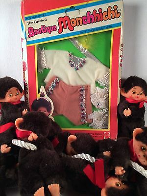 """1970's LOT 10x Huggers & Boutique Monchhichi 8"""" Doll Clothes INDIAN BRAVE"""