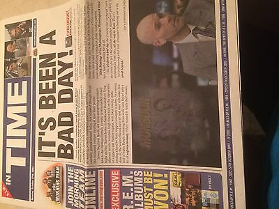 R.e.m. Newspaper  Super Rare Collectible Item For In Time The Best Of R.e.m.