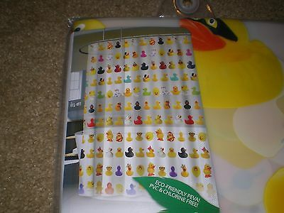 Rubber Duckie Bath Shower Curtain Waterproof Multi-Color PEVA Duck Bathroom NEW