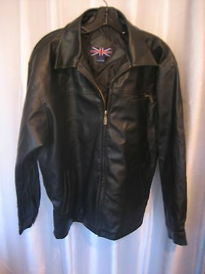 Whispering Smith Men's Black Faux Leather Zipper Front Jacket Sz M Pre-Owned