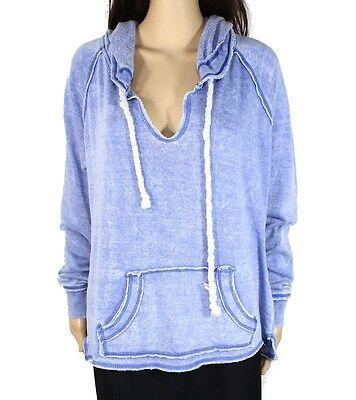 Ocean Drive NEW Blue Womens Size Large L Burnout Hooded Sweater $50 310 DEAL