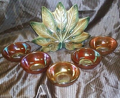 FIVE GORGOUS VINTAGE  GOLD CARNIVAL GLASS  WITH RAINBOW COLORS(a real find)