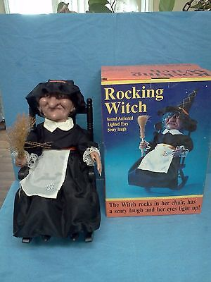 Vintage Gemmy Halloween Animation Rocking Witch Eyes Light Up Laughs