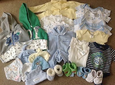 Baby boy size 0000  and 000 clothes, beanies, booties and blankets