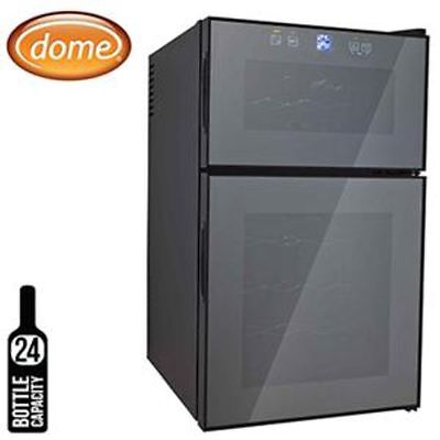 Dome 24 Bottle Wine Cooler with Dual Zone, 68L, Mirror Glass Door - Black
