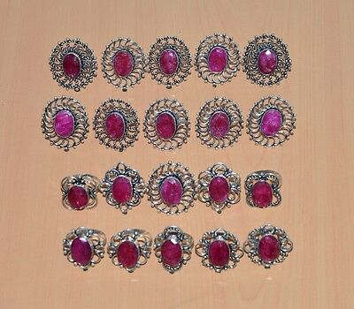 Wholesale 20Pc 925 Silver Plated Faceted Red Ruby Big Classic Ring Jewelry Lot
