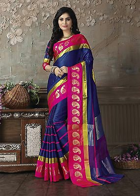 Bollywood Style Blue & Red Cotton Silk Saree with Blouse JLT001