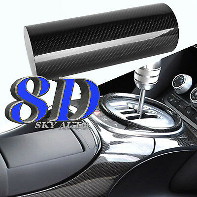 New 8D Black GLOSSY Carbon Fiber Vinyl Wrap Sheet With Air Release