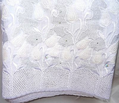 Quality Beautiful African White Men Women Lace Fabric with sparkling stones
