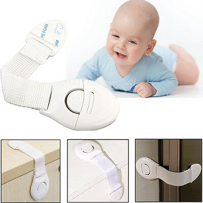 1/5X Adhesive Child Kids Baby Cute Safety Lock For Door Drawers Cupboard Cabinet