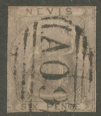 Nevis 6P Grey Old Classic Imperf Used Stamp Rare $$$$