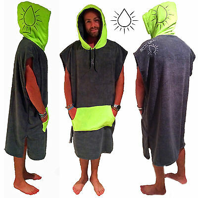 Poncho Towel - MOOD JUICE GREEN / Charcoal Hooded towel adult surf round towels