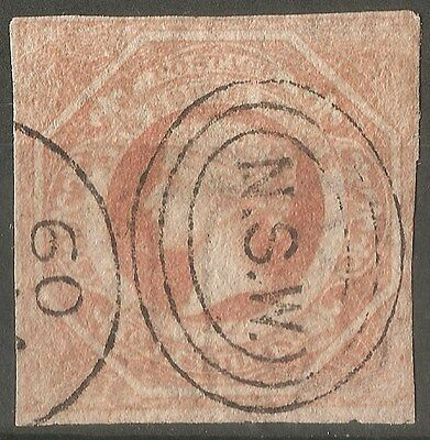 NSW New South Wales Australia QV 1S Wmk Inverted Imperf Used Stamp