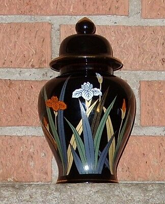 "Otagiri Japan black with Iris & gold trim 8""h Jar/Urn with lid"