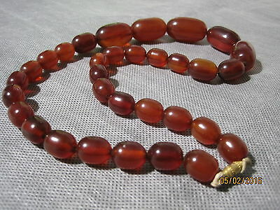 Vintage Amber Necklace Large Graduated Beads