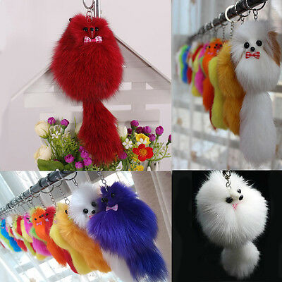 1Pc Fluffy Fake Pompom Fox Fur Key Chain Handbag Car Pendant Keyring Accessories