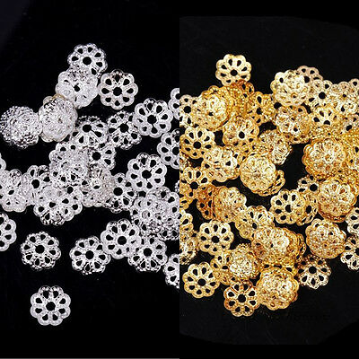 500Pcs Retro Metal Flower Bead Caps Spacer Beads Jewelry Findings Crafts 6mm