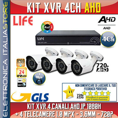 KIT XVR 4 CANALI AHD IP 1080H + 4 TELECAMERE 1.0 Mpx - 3,6mm - 720p
