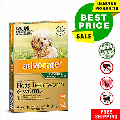 Advocate Green Pack for Dogs upto 4 Kg 3 Pipettes flea heartworm worm treatment