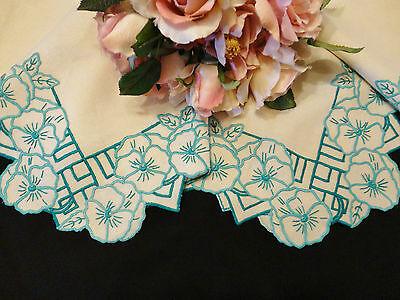 Vintage Hand Embroidered Tablecloth Pansy Design